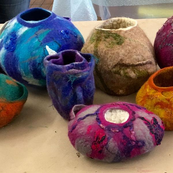 Workshop students' sculptural pieces