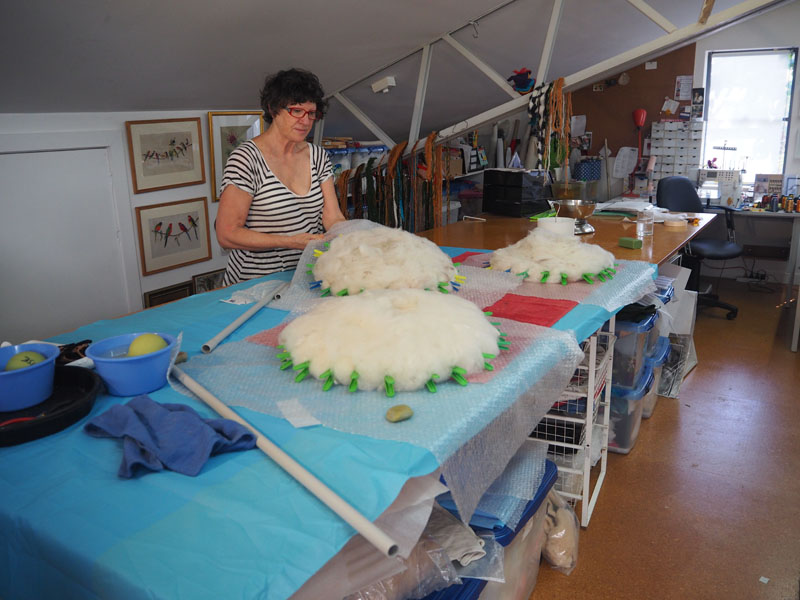 Denise working in the studio