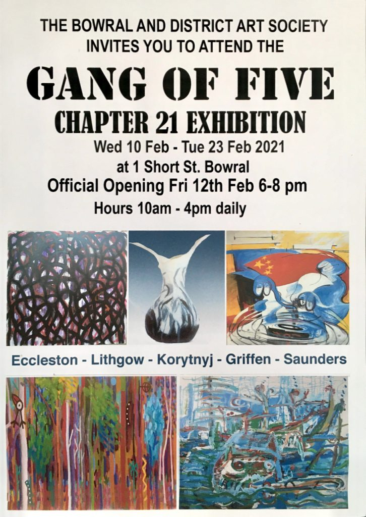 This is our next exhibition opens  at BDAS, Bowral District Art Society  10th Feb until 23rd Feb 2021